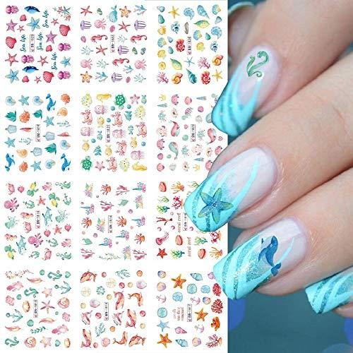 12pcs Ocean Animal Summer Nail Water Decals Starfish Coral Reef Seaweed Sticker Sea Life Nails Art Transfer Slider