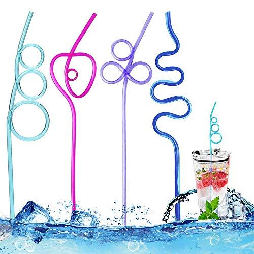 Cannucce riutilizzabili, colorate, in plastica, per smoothie, latte, tè, caffè, 12 cannucce lunghe in plastica per bambini adulti (4 colori, 4 forme)