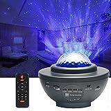 Proyector de luz estrellada con proyector de niebla giratorio 360°, lámpara de luz nocturna, cambio de color con Bluetooth/altavoz de música/temporizador/mando a distancia para escenario