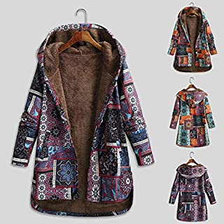Explopur Retro,Women Vintage Loose Hooded Coat Floral Printed Fleeces Lining Buttoned Plus Size Winter Warm Parka Casual Long Coat Outwear