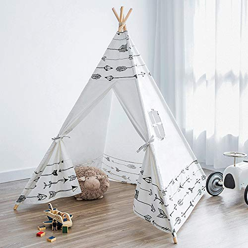 Myshle Teepee Tent for Kids Foldable Kids Play Tent for Girl and Boy with Carry Case & Bunting Room Decor Indoor & Outdoor Cotton Canvas Teepee