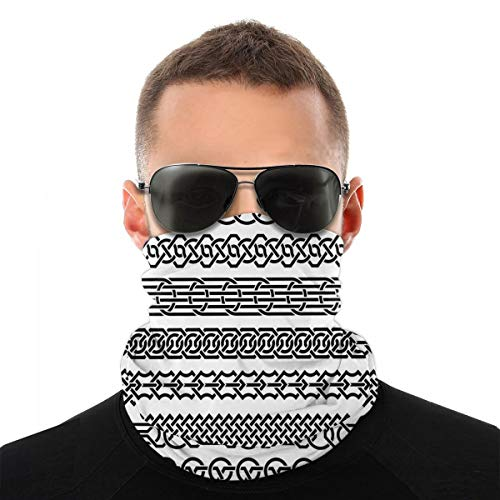 Neck Gaiter Bandanas Face Scarf Head Wrap Windproof Headband Breathable Balaclavas Face Cover Outdoor Headwear Motorcycle Cycling Vintage Borders Form Celtic Classical Ornaments Horizontal Striped