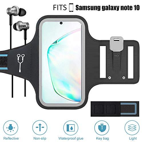 ZLFTYCL Sportarmband voor mobiele telefoon, zweetbestendig, voor Samsung Galaxy Note10/10 5G, reflecterende band, ontgrendelen van het gezicht, verlengingsband, kabelvak, sleutelhouder, ideaal voor hardlopen, joggen, zwart