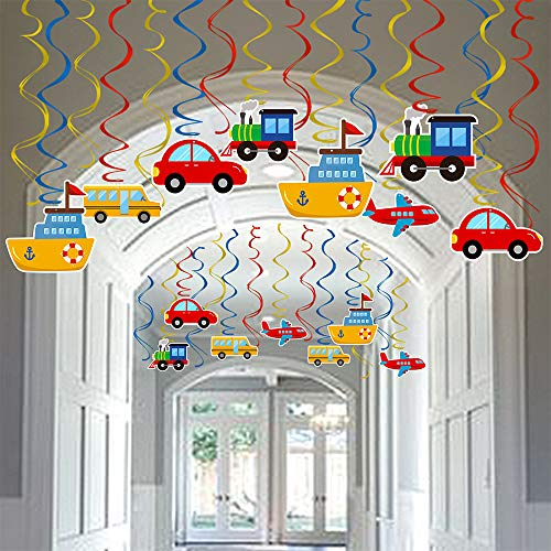Faisichocalato Transportation Party Hanging Swirl Decorations 30 Ct Car Bus Train Plane Ship DIY Hanging Decor for Kids Baby Shower Birthday Party Supplies