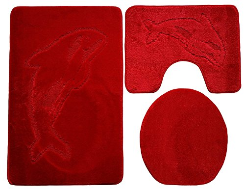 Ilkadim Delphin Badgarnitur 3 TLG. Set 55x85 cm einfarbig, WC Vorleger mit Ausschnitt für Stand-WC (rot)
