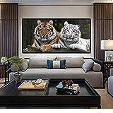 KWzEQ Cartel Moderno de Animales y Mural Impreso sobre Lienzo Dos Tigres Lindos,Pintura sin Marco,30x60cm