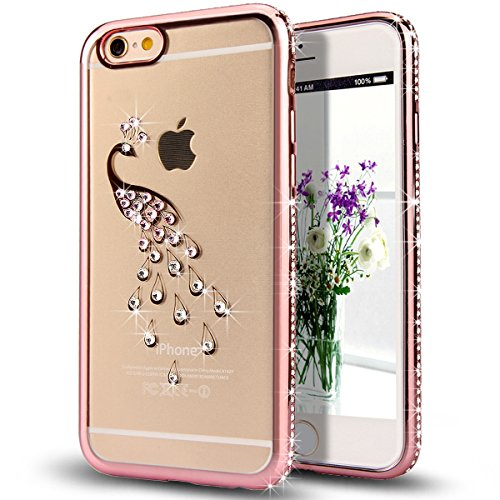 """iPhone 6S Plus Case,iPhone 6 Plus Case,ikasus Rose Golden Peacock Glitter Bling Crystal Rhinestone Diamond Clear Rubber Rose Plating TPU Soft Bumper Case Cover for iPhone 6S Plus/iPhone 6 Plus 5.5"""""""