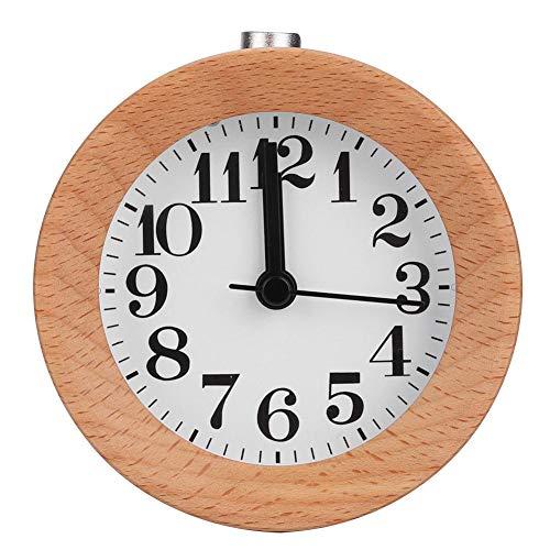 Cafopgrill Reloj Despertador de Madera Reloj de Mesa Función de Diseño Redondo Alarma Reloj de Escritorio Natural Escritorio Silencioso Reloj Despertador Reloj Decorativo para el Hogar