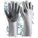Geschirrhandschuhe, Reinigen Silikon-Spülhandschuhe, Silikon Handschuhe, Magische Handschuhe, Gummi-Handschuh für die Haushalt, Hitzebeständige Handschuhe für Küche, Bad, Auto(Dunkelgrau, Groß)