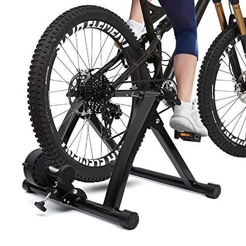 KLY Magnetic Bike Trainer Stand - Klappbarer Fahrrad Ständer Walze mit Geräuschreduzierung und Schnellverschluss zum Trainieren - mit Vorderradblock