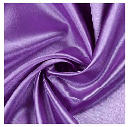 """mds Pack of 10 Yard Charmeuse Bridal Solid Satin Fabric for Wedding Dress Fashion Crafts Costumes Decorations Silky Satin 44"""" Lavender"""