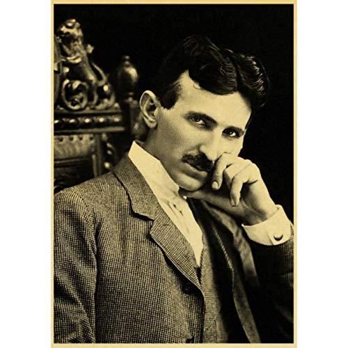 shuimanjinshan Famous Scientist Nikola Tesla Retro Poster Home Furnishing Decoration Game Poster Drawing Painting Wall Sticker 40x60cm No Frame HZ-243