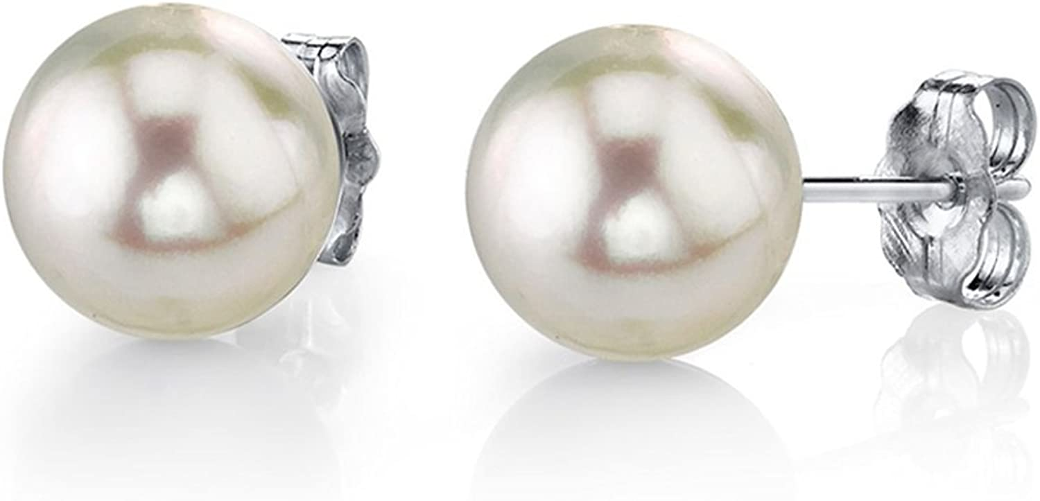 White Akoya Cultured Pearl Earrings for Women with 14K Gold in AAA Quality - THE PEARL SOURCE