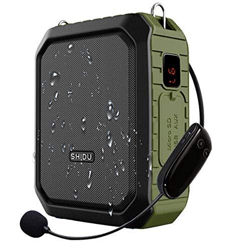 SHIDU Amplificatore vocale wireless Bluetooth Insegnante Microfono 18W Impermeabile portatile Amplificatore vocale Cuffia Mic Ricaricabile Voice Enhancer Microfono personale per aula all aperto