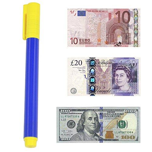 Accessotech Verificador de dinero Pluma Forjado Detector de billetes de banco Bolígrafos falsos Probador de fraude