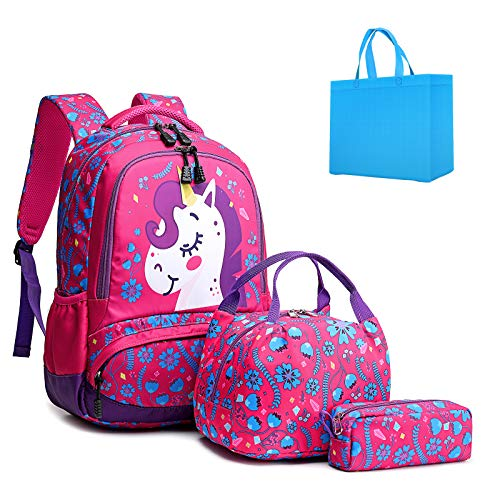 Girls Unicorn Backpacks Students School Bags Kids Bookbags Set for 8+ Years Old Teens Shoulder Bags and Lunch Tote Bag Pencil Case