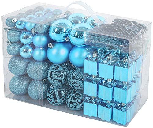 Brubaker Set di 101 Accessori Decorativi per L'Albero di Natale - addobbi Natalizie in Color Blu - Diverse Forme di Palline ed Un Puntale per Albero di Natale