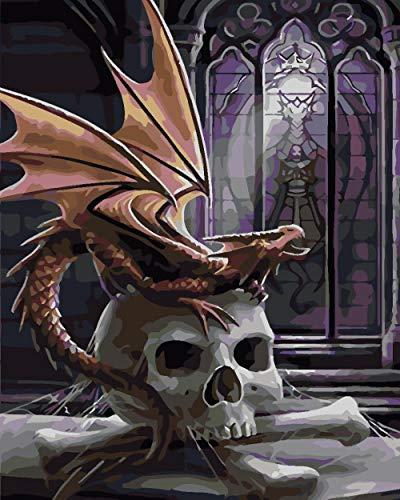 BLZQA Sin Marco - Pintar por Numeros (40 x 50 cm) Esqueleto de dragón Volador para Adultos Niños Pintura por Números con Pinceles y Pinturas Decoraciones para el Hogar
