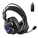 VANKYO Wireless Gaming Headset Captain 100- Gaming Headphones with Detachable Noise Cancellation Microphone, Long Lasting Battery Up to 30 Hours, LED Light, Comfortable Memory Foam, for PS4, PC, PS5