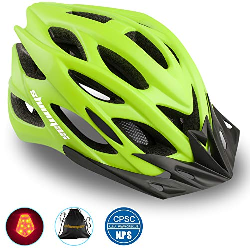 Shinmax Bike Helmet, CPSC/CE Certified Adjustable Light Bicycle Helmet Men&Women Road and Mountain Bicycle Helmet with Visor&Rear Light Met Specialized Cycling Helmet for Adult