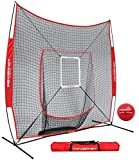 PowerNet DLX 7x7 Baseball Softball Hitting Net + Weighted Heavy Ball + Strike Zone Bundle (Red) | Training Set | Practice Equipment Batting Soft Toss Pitching | Team Color | Portable Backstop