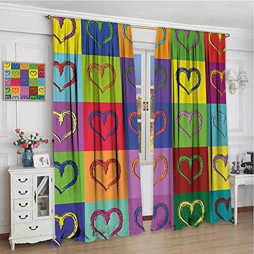 wonderr raamgordijnen voor slaapkamer, isolerende kamer verduisterende verduisterende gordijnen voor slaapkamer, kunst, Mondriaanse pop ontwerp met kleurrijke vierkanten levendig kleuren geometrische vormen Print,Multi kleuren