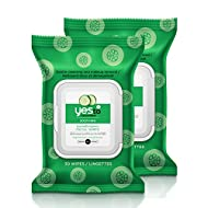 Yes To Cucumbers Soothing Hypoallergenic Facial Wipes for Sensitive Skin, 30 Count (Pack of 2)
