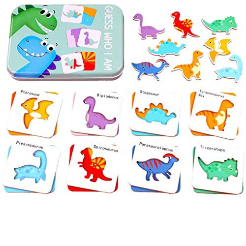Guess Who I Am - Dinosaur Learning Cards Game in a Box for Kids - Cognitive Mix & Match Jigsaw Puzzle Toys for Preschool Educational Learning for Boys and Girls Ages 1-6