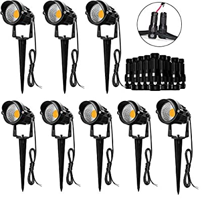 Hypergiant 8 Pack 7W LED Landscape Lighting with Connectors 12V 24V,Outdoor Low Voltage Landscape Lights Warm White IP65 Waterproof,Pathway Garden Wall Outdoor Spotlights for Backyard,Lawn,Patio,Yard