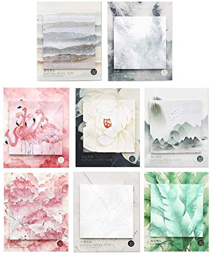 RIANCY Ancient Chinese Landscape Scenery Sticky Notes Pack, Colorful Nature Scenery Self-Stick Notes, Memo Pad, Things to Do List Notepad, Schedule Marker, 30 Sheets per Pad (Colorful,Pack of 8)