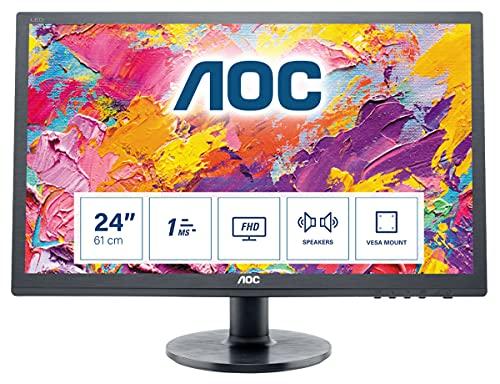 AOC E2460SH 60,96 cm (24 Zoll) Monitor (VGA, DVI, HDMI, 1ms Reaktionszeit, 60 Hz, 1920 x 1080 Pixel) schwarz