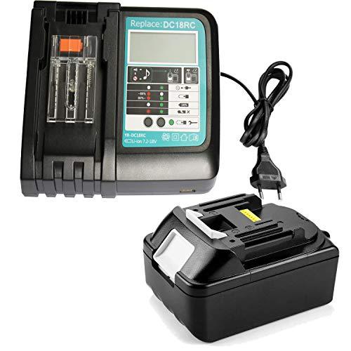 Batería de repuesto para Makita BL1850 BL1840 BL1830 LXT400 + 3A cargador con pantalla LED de repuesto DC18RA DC18RC 3A 10,8 V ~ 18 V