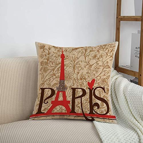 Fundas de cojines sencillas y clásicas de 45 x 45 cm,Vintage Set, Paris Vintage Floral French Eiffel Tower City,ideales para casa, oficina o para la espalda en el coche - Fundas de Poliéster para sofá