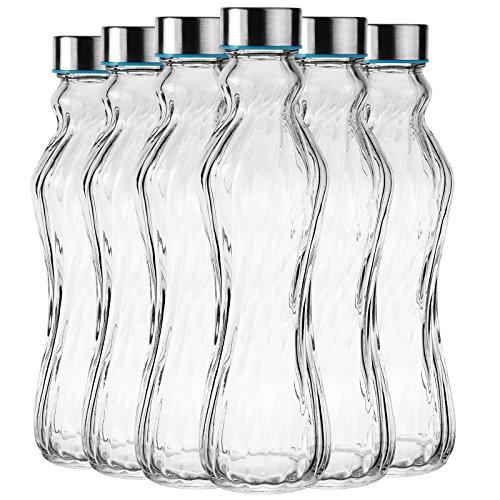 My-goodbuy24 6tlg. Glasflasche Set Trinkflasche Wasserflasche mit Edelstahldeckel - Ideal für Getränke wie Smoothies, Wasser, Säfte, Tee, Milch usw. - Luftdicht/tropfsicher 500ml / H: 25cm