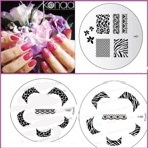 Bundle 5 pièces : Konad Plaque de nouvelles images M87, M88, M57 + Stamper & Scraper + Eco Lime à ongles