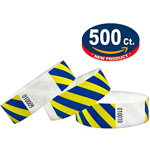 500 Eintrittsbänder aus Tyvek, Gestreift, Neon Blue Yellow - Blau Gelb - Party Einlassbänder, Securebänder, Festival Armbänder, Kontrollbänder für dein Event