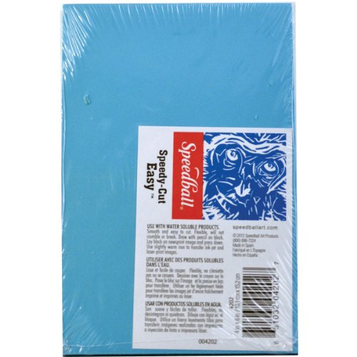 Speedball 4347 Speedy-Cut Block Printing Carving Block Soft Rubber-Like Material Easy to Carve 6.75 x 11 Inches