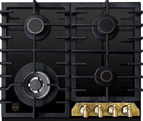 Kaiser Empire KCG 6335 Em Gas Kochfeld 60cm /Autark/Gaskochfeld/Gas auf Schwarzem Glas/Glaskeramik Gasherd Einbau/Metallrahmen Bronze/Brennersockel – Gold/ 3,8 kW Wok/Erdgas/Fl.Gas/UVP 980 EUR