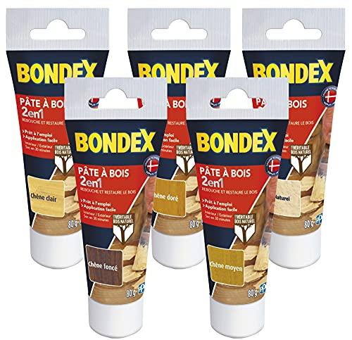 BONDEX - Pâte à bois - Retouche et restaure le bois - Sec en 30 min - Chêne clair - 80g