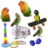 Broadsheet 5PCS Bird Toys Mini Shopping Cart, Skateboard, Training Rings and 2pcs Toy Balls, Bird Training Toy Set, for Budgie Cockatiel Parakeet Parrot Toys, Animal Training Games Educational Toys