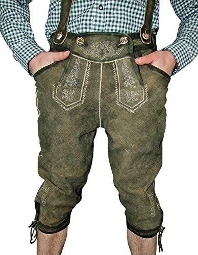 Lekra Kniebund Lederhose Prien mit Stegträger Olive/ecrue Gr. 48 - Kniebundlederhose für Herren - Marken Lederhose
