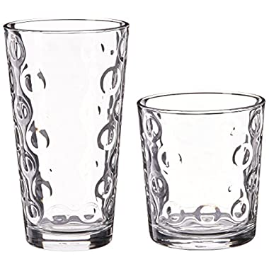 Circleware Circles Set of 16 Glass Drinking Glasses Set, 16 Piece Set, 8-17 Ounce and 8-12 Ounce DOF Coolers, Limited Edition Glassware Drinkware Drink Glass Cups