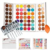 Beauty Glazed Gorgeous Me Eyeshadow Palette Pigmented Professional Makeup Pallet Long Lasting Eye Makeup Set 63 Colors Waterproof Matte And Shimmers Glitters With Brush Sets and Squeeze Sponge