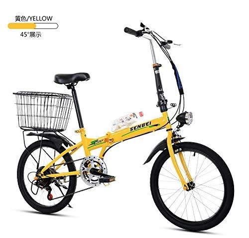 ZXYY Klapprad 20-Zoll-Klapprad für Erwachsene Ultra Light Speed Tragbares Fahrrad zur Arbeit Schule Pendel schnell klappbares Fahrrad (Farbe: GELB Größe: 155 * 30 * 94CM)
