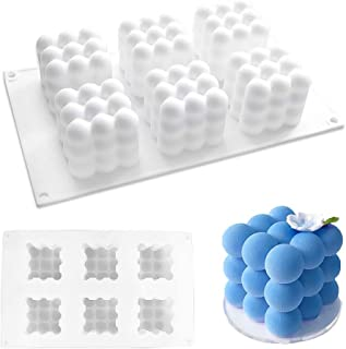 6 Cavity Cube Molds, Silicone Mold for Baking Chocolate Cake and Making 3D Handmade Candles, Diy Tools for Mousse Dessert ...