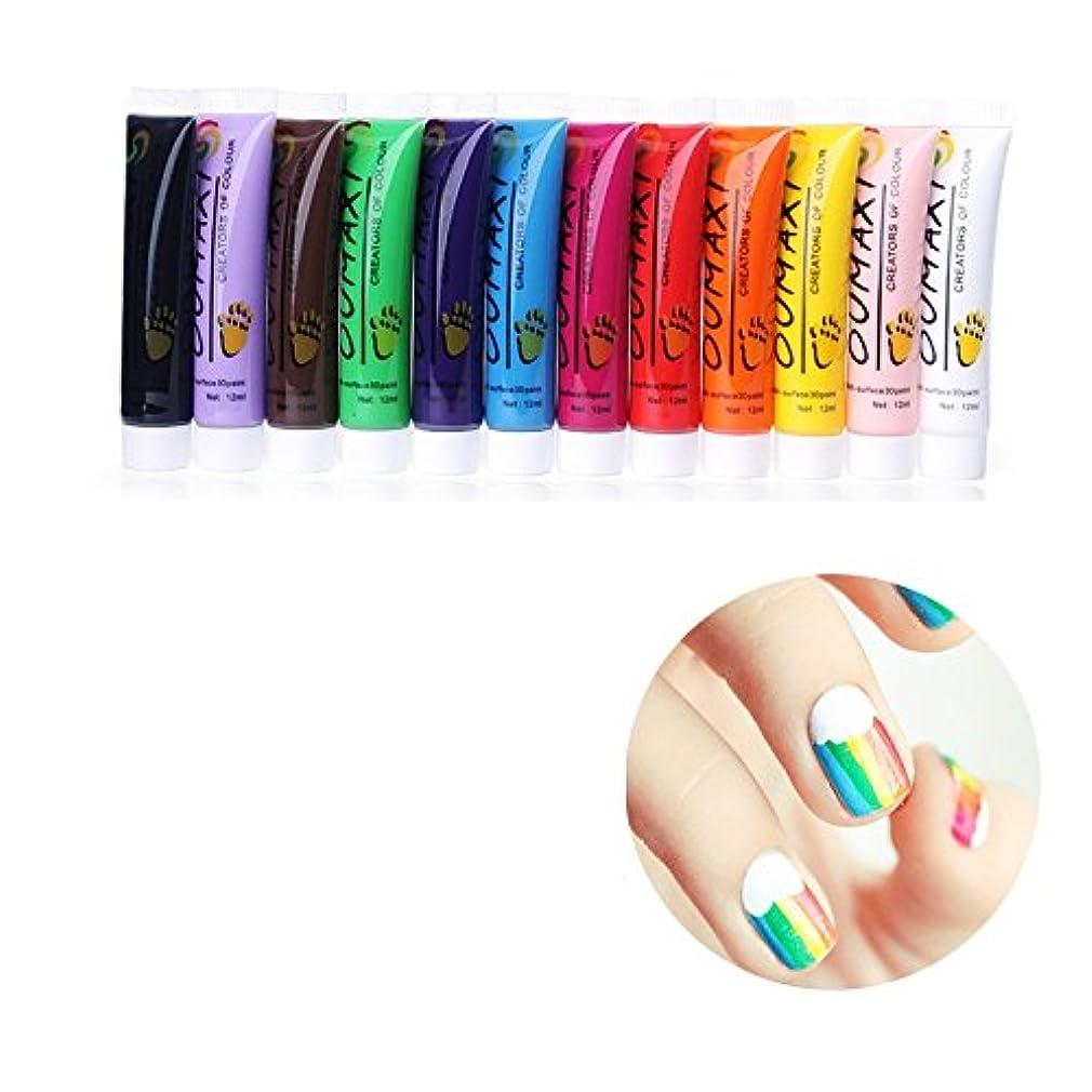 同性愛者素子ベアリング12Pc Colors Nail Art Pen 3D Painting Draw Paint Tube Pigment Acrylic Kits Decorations UV Gel Draw Design DIY Pencil Polish Set