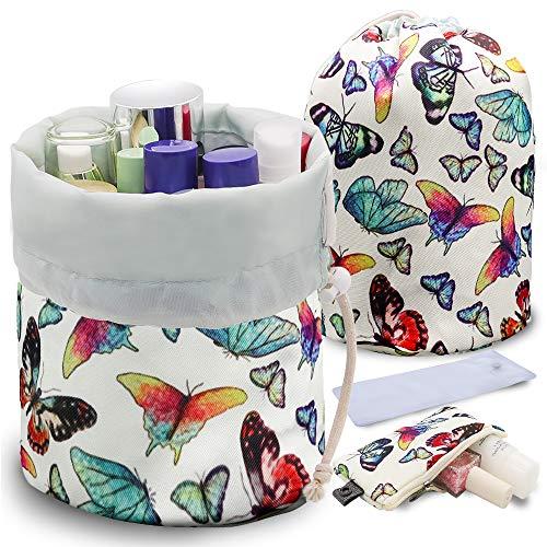 UYRIE Tragbare Make-up-Tasche, Kosmetiktasche, Reisetasche, große Kordelzug, zum Aufhängen, für Damen, Mädchen, Männer, leicht, multifunktional, in Fassform Butterfly Family 6.7 * 9 inches