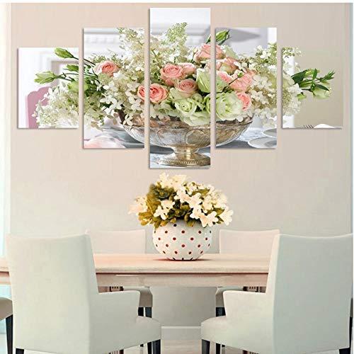 ZZHPlanet Nordischer Stil Moderne Leinwand Dekoration Rahmen Modulare Malerei Wandkunst HD Print Poster 5 Panel Rose Lily Landschaft Frische Bilder Ländliche Landschaft