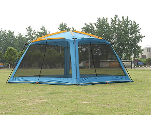 Generic Brands Carpa Carpa para Acampar al Aire Libre Refugio para Sol Carpa Gazebo Carpa para sombrilla Jardín Cenador Awming Resistente a los Mosquitos Doble Capa Pérgola Gazebo Azul
