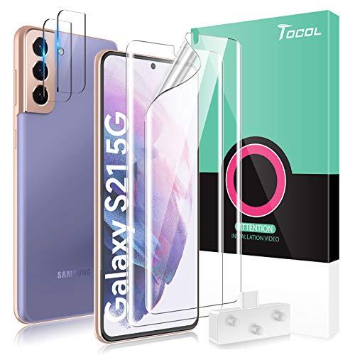 TOCOL 2 pacchi Pellicola Protettiva Compatibile per Samsung Galaxy S21 5G in Vetro temperato 2 pacchi Pellicola Protettiva per Schermo HD Pellicola TPU Telaio di Posizionamento Senza Bolle